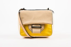 Reed Krakoff Cream Yellow Taupe Leather Colorblock Cross Body Bag