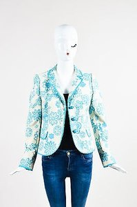 Moschino Moschino Cheap And Chic Teal Cream Cotton Woven Floral Button Down Blazer