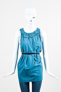 Vera Wang Teal Pleated Belted Top Blue