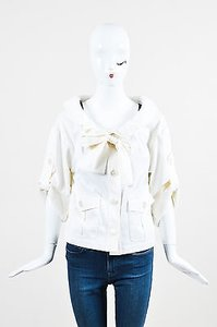 Escada Pleated Collar White Jacket