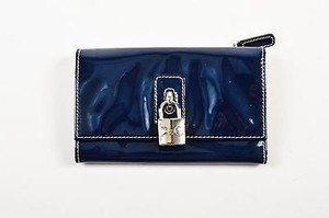 Dolce&Gabbana Dg Dolce Gabbana Navy Blue Patent Leather Silver Tone Padlock Trifold Wallet