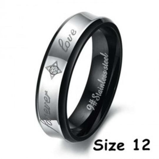 Silver/Black Forever Love Free Shipping Men's Wedding Band