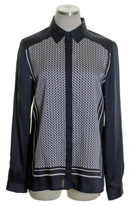 Ann Taylor Long Sleeve Print Button Down Shirt Blue Multi