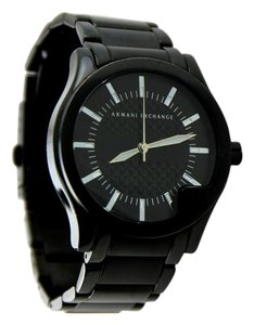 A|X Armani Exchange * Armani Exchange Men's Black-Tone Stainless Steel Stamp-Face Watch