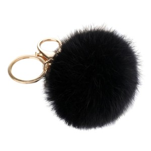 Brand New.... Black Large Fur Handbag Charm, Key Ring..