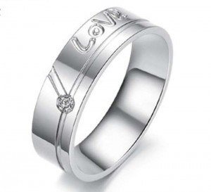 Silver Love Titanium Steel Free Shipping Men's Wedding Band