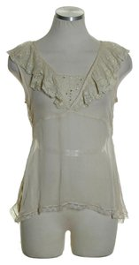 Odille 100% Silk Sheer Crinkled Top Ivory