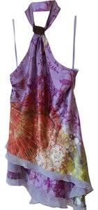 Bianca Nygard Halter Tiered Silk Top violet multi design