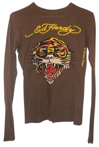 Ed Hardy Tiger Tattoo Longsleeve Colorful T Shirt Brown