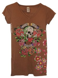 Ed Hardy Tattoo Flowers Skull T Shirt Brown