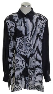 Diane Gilman Silk Tiger Print Sequin Long Sleeve Tunic Button Down Shirt Black/White