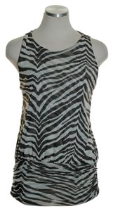 Sweet Pea by Stacy Frati Mesh Knit Zebra Print Top Brown Multi