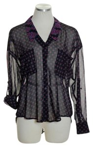 Free People Sheer Floral Hi-lo Tab Sleeve Button Down Shirt Black/Purple