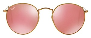 """Ray-Ban Ray Ban RB 3447 ROUND SUNGLASSES 50mm GOLD METAL TRIM with PINK FLASH MIRROR LENSES """"FREE EXPEDITED SHIPPING"""""""