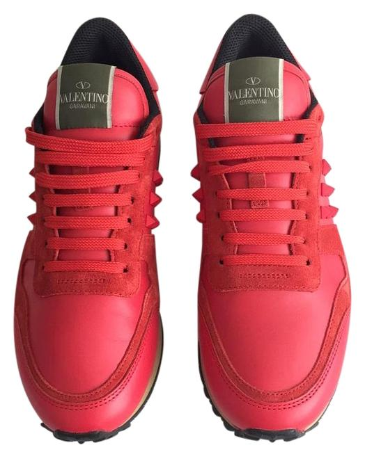 Item - Red Rockstud Leather and Suede Sneakers Size US 9 Regular (M, B)