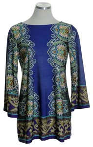 Sunny Leigh Stretch Paisley Knit 3/4 Sleeve Top Blue Multi