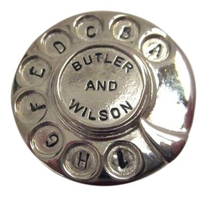 Butler & Wilson Vintage B&W Silver Tone Telephone Rotary Dial Pin Brooch --Superb!