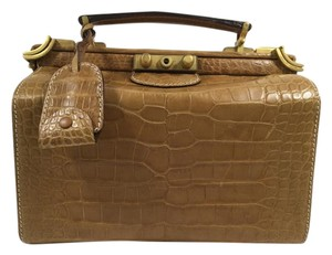 Gucci Alligator Embossed Satchel in Camel