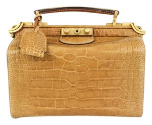 Gucci Vintage Alligator Embossed Satchel in Camel