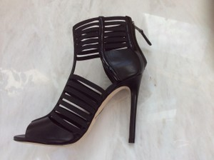 Brian Atwood Patent Leather Leather Black Sandals