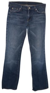 7 For All Mankind Distressed Signature Pocket Designer Denim Navy Boot Cut Jeans-Medium Wash