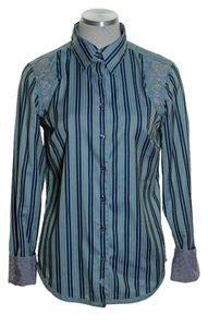 Robert Graham Striped Embroidered Long Sleeve Fitted Button Down Shirt Blue