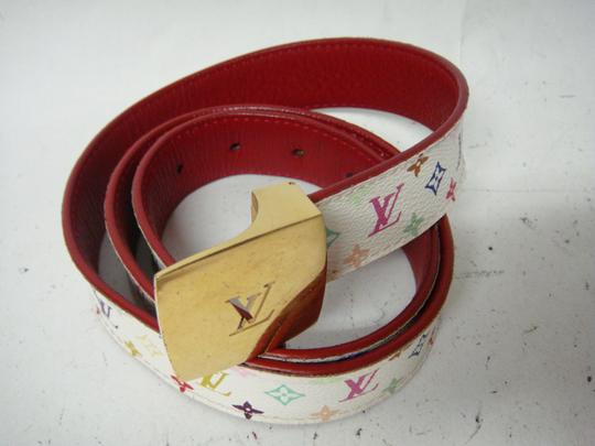 Louis Vuitton 100% Authentic White/Multicolored Murakami LV Belt with Gold Logo Buckle