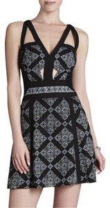 BCBGMAXAZRIA Edgy Artsy Cut-out Mini Vintage Dress