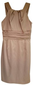 Julian Taylor Satin Ruching Champagne Bridesmaid Sleeveless Dress