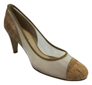 Chanel Gold Tone Cc Logo Tan / White Pumps