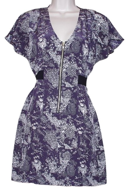 Item - Print Gray XS Silk Zip Front Short Sleeve Tunic Size:xs Mid-length Cocktail Dress Size 2 (XS)