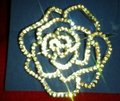 Avon Rhinestone Rose Pin with Dozens of Clear Rhinestones Image 2