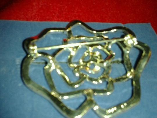 Avon Rhinestone Rose Pin with Dozens of Clear Rhinestones Image 3
