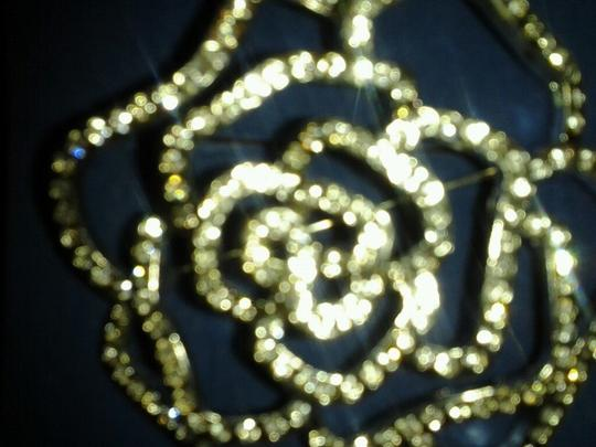 Avon Rhinestone Rose Pin with Dozens of Clear Rhinestones Image 4