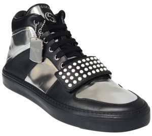 Gucci 376194 Sneaker Limited Edition High Top Black, Silver Athletic
