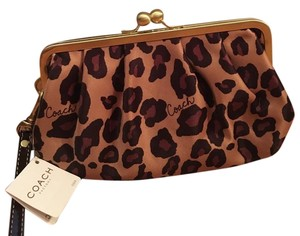 Coach Satin Leopard Evening Party Print Wristlet in Leopard Print