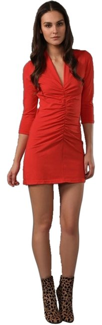Friend of Mine short dress Red Ruched Stretch Sleeve Size 2 Xs Small Women Clothing Versatile Bodycon V-neck on Tradesy