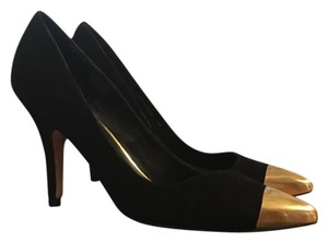 Dolce Vita Suede Gold Hardware Holiday Party Black Suede Pumps