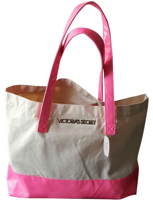 Item - Cream & Pink Cloth Vinyl Beach Bag