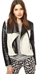 French Connection Faux Leather Asymmetric Zip Black Jacket