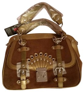 Rina Rich Satchel in brown and gold