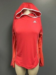 adidas Adidas Coral Long Sleeve Mesh Side Stripe Hooded Athletic Top Sm2034