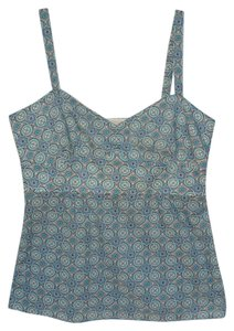 Ann Taylor LOFT Cotton Summer Top Blue Print