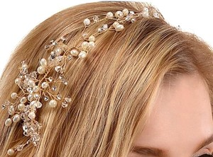 Gold Crystal Wedding Headband Bridal Party Hairpiece Headwear