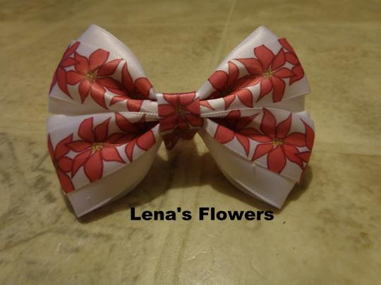 Other Christmas poinsettia hair bow for girls. Satin Red with White Poinsettia hair bow on alligator clip