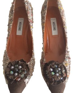 Moschino Brown Tweed and Suede Pumps