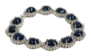 Vintage Substantial 14k White Gold Natural Blue Sapphire Cabochon & Diamond Link Bracelet
