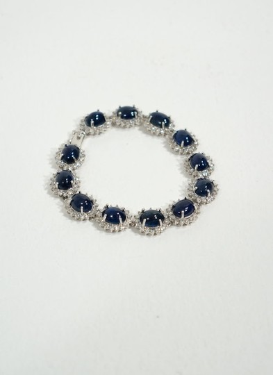 Other 14k Natural Blue Sapphire Cabochon Diamond Link Bracelet
