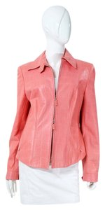 Escada Lambskin Leather Alligator Crcodile Embossed Dual Zip Pink Leather Jacket