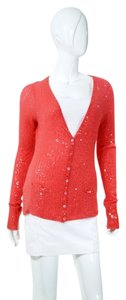 Donna Karan Cashmere Sequin Knit Button Down Sweater Cardigan